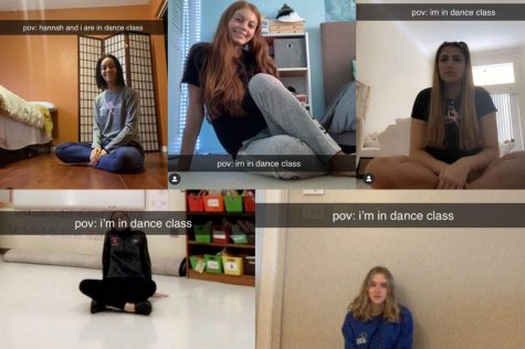 Momentum dancers (top left to bottom right) Allyse Doblmeier, Angela Depalma, Mia Tamerian, Hannah Mader, and Kelly Gillan display how their dance class experience functions over Zoom.
