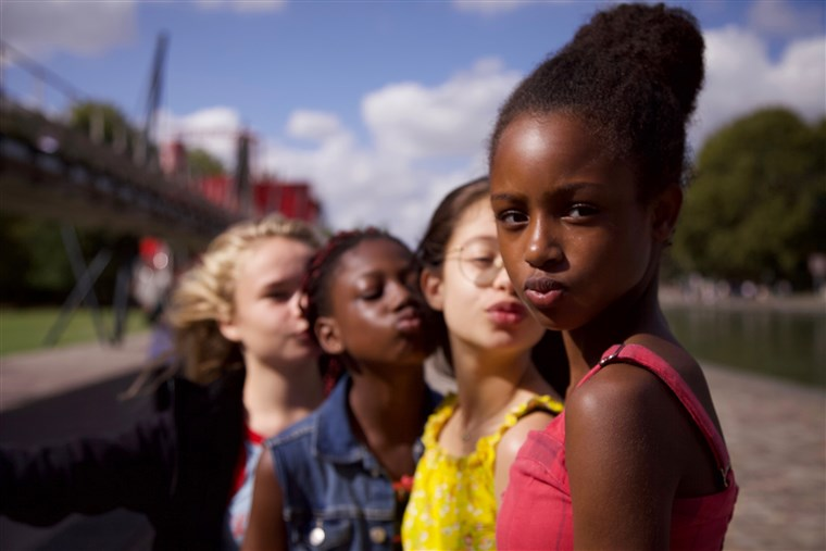 (Left to right) Ilanah Cami-Goursolas, Esther Gohourou, Medina El Aidi, and Fathia Youssouf star as the main characters in the controversial Netflix Original film