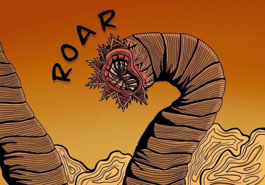 An illustration of Shai Hulud, a titan sized sandworm that resides in Arrakis, by Literary Arts Editor Madalen Erez.