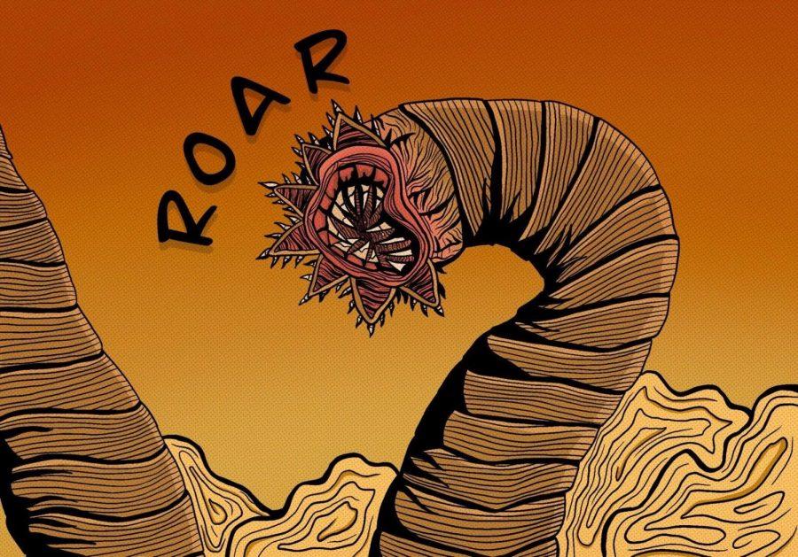 An illustration of Shai Hulud, a titan sized sandworm that resides in Arrakis, by Literary Arts Editor Madalen Erez.