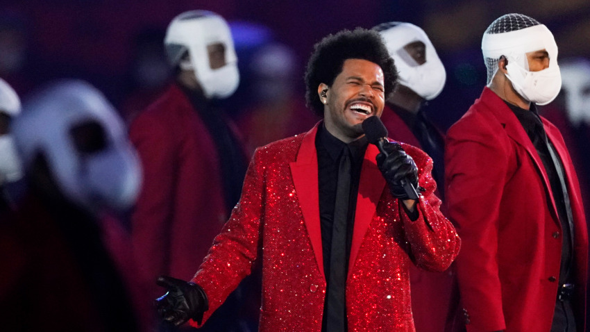 Abel+Makkonen+Tesfaye%2C+better+known+as+%22The+Weeknd%2C%22+performs+the+Super+Bowl+LV+halftime+show.